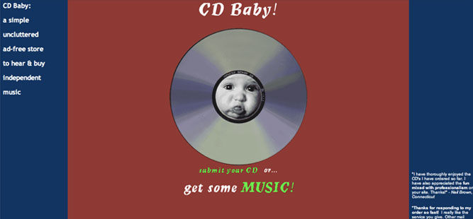 CD Baby homepage in 1998